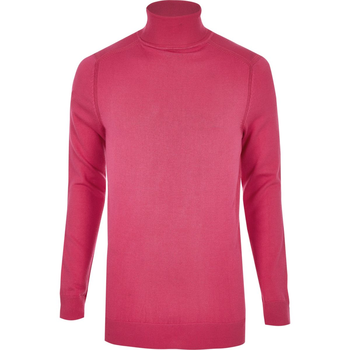 Bright pink slim fit roll neck sweater