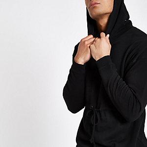 Only & Sons – Sweat à capuche noir avec liens à nouer à la taille