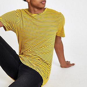 Only & Sons – Gelbes, gestreiftes T-Shirt