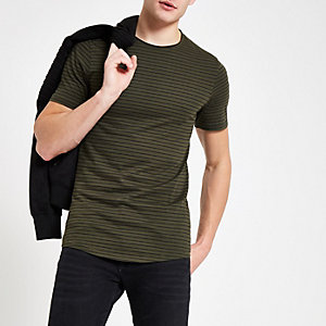 Only & Sons green stripe t-shirt