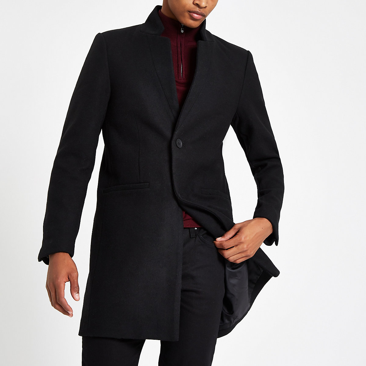 Only & Sons black wool trench coat