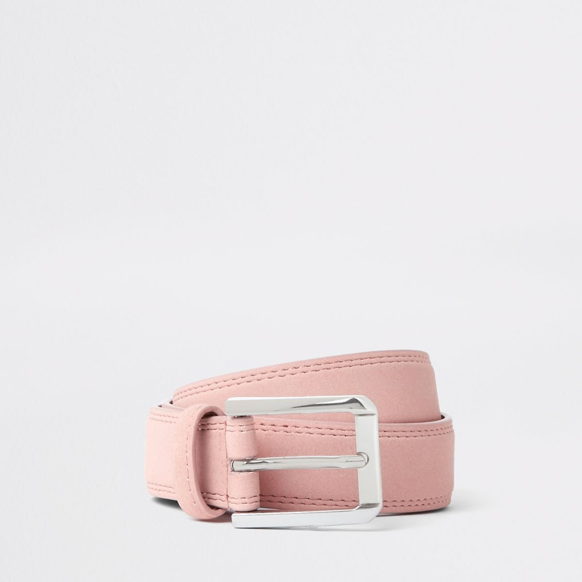 Pink suedette buckle belt