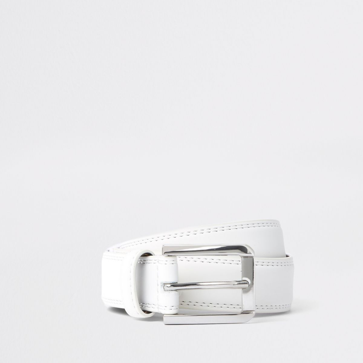 White silver tone buckle belt