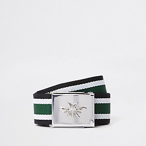 Green textured stripe wasp buckle belt