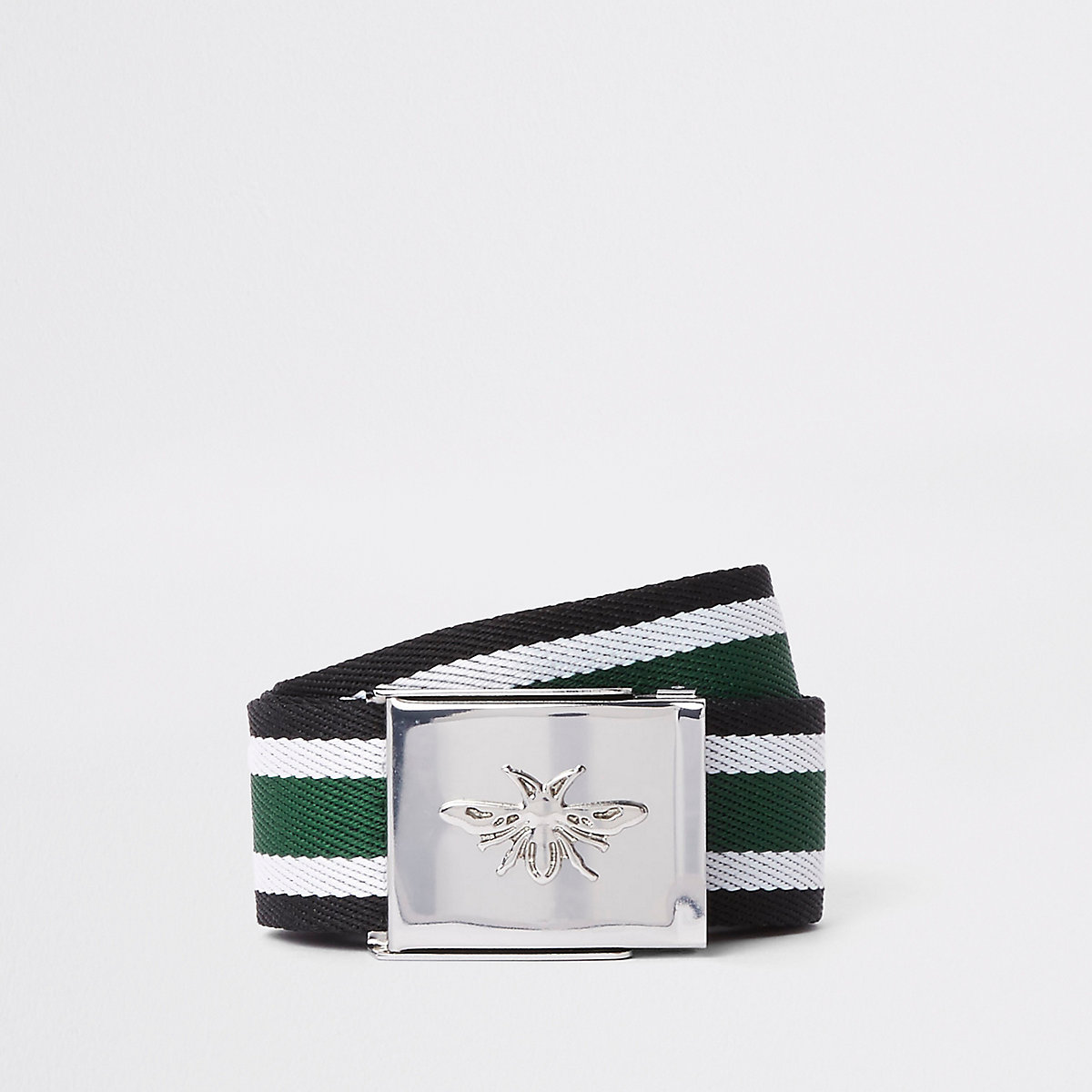 Green textured stripe wasp buckle belt