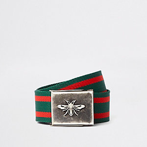 Green and red stripe wasp buckle belt