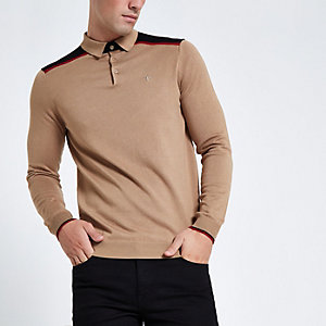 Polo slim marron clair à bandes