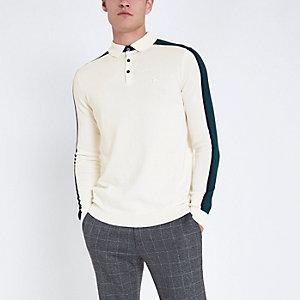 Langärmliges Slim Fit Polohemd in Ecru