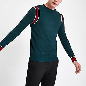 Grüner, langärmliger Slim Fit Pullover mit Zierstreifen