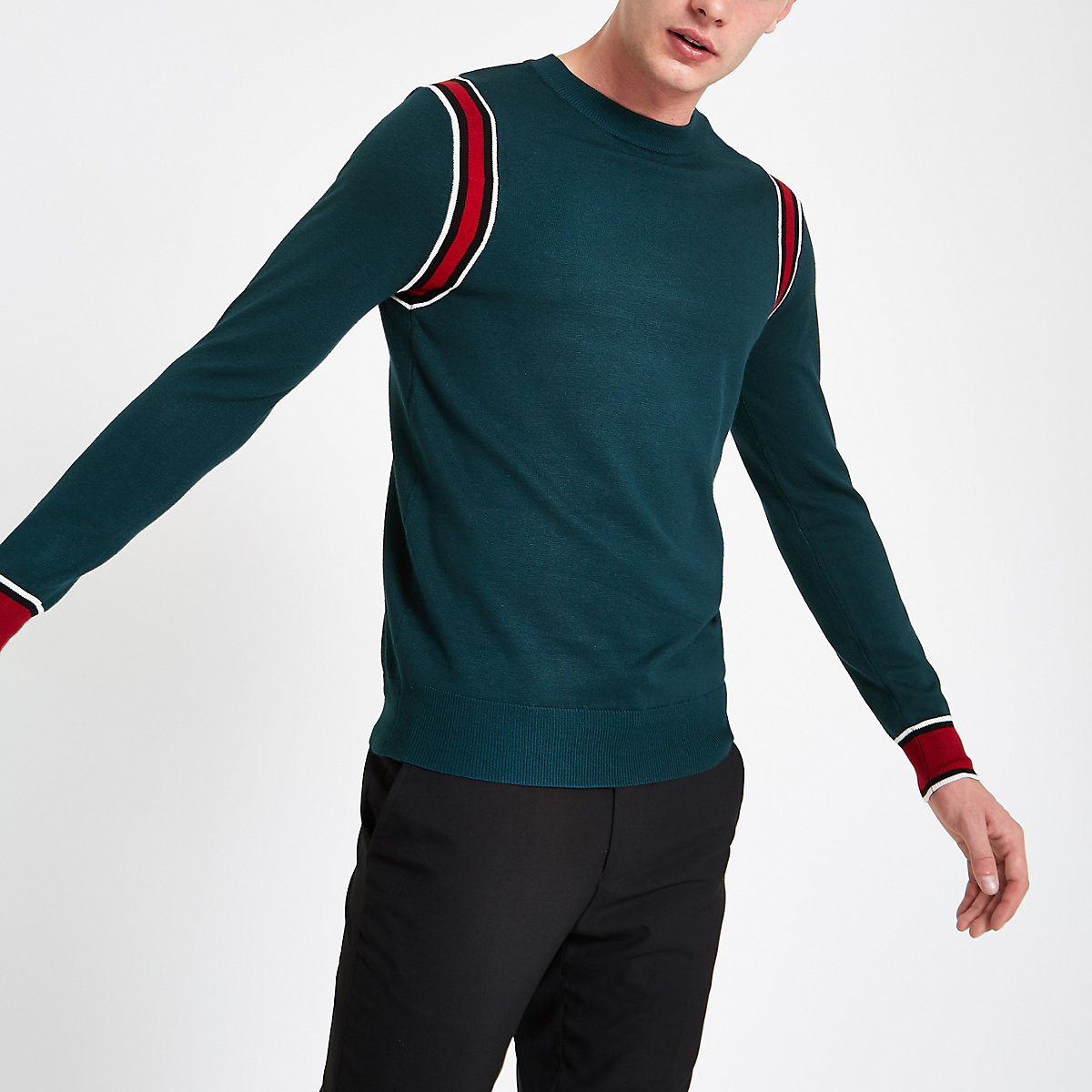 Green slim fit long sleeve tipped jumper