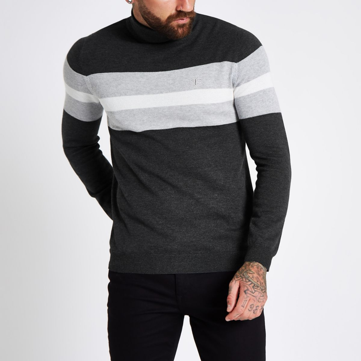 Grey block print roll neck slim fit sweater