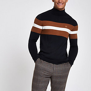 Navy block print roll neck slim fit jumper