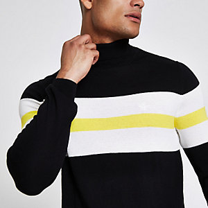 Black block print roll neck slim fit sweater