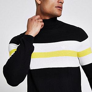 Zwarte slim-fit pullover met blokprint en col