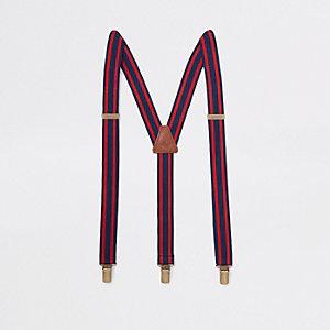 Marineblauwe en rode gestreepte bretels