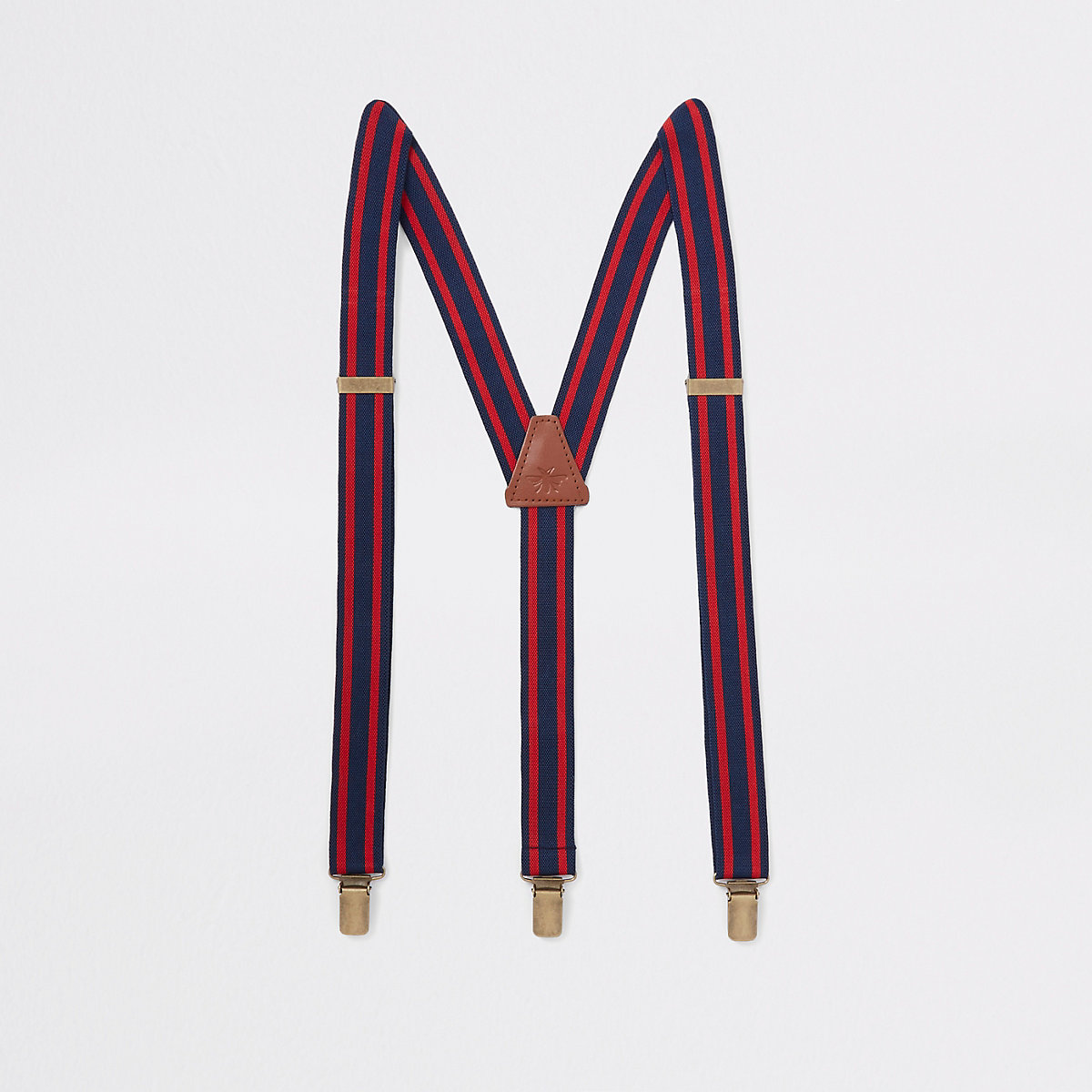 Navy and red stripe belt suspenders