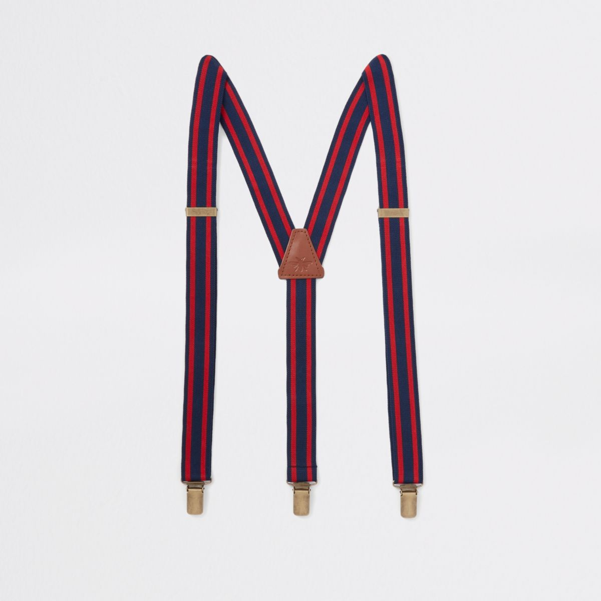 Navy and red stripe belt suspenders