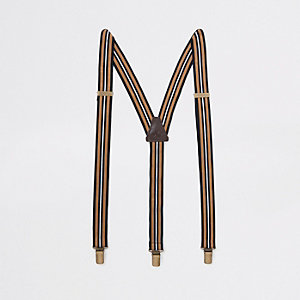 Brown stripe belt suspenders