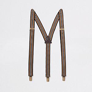 Bruine gestreepte bretels