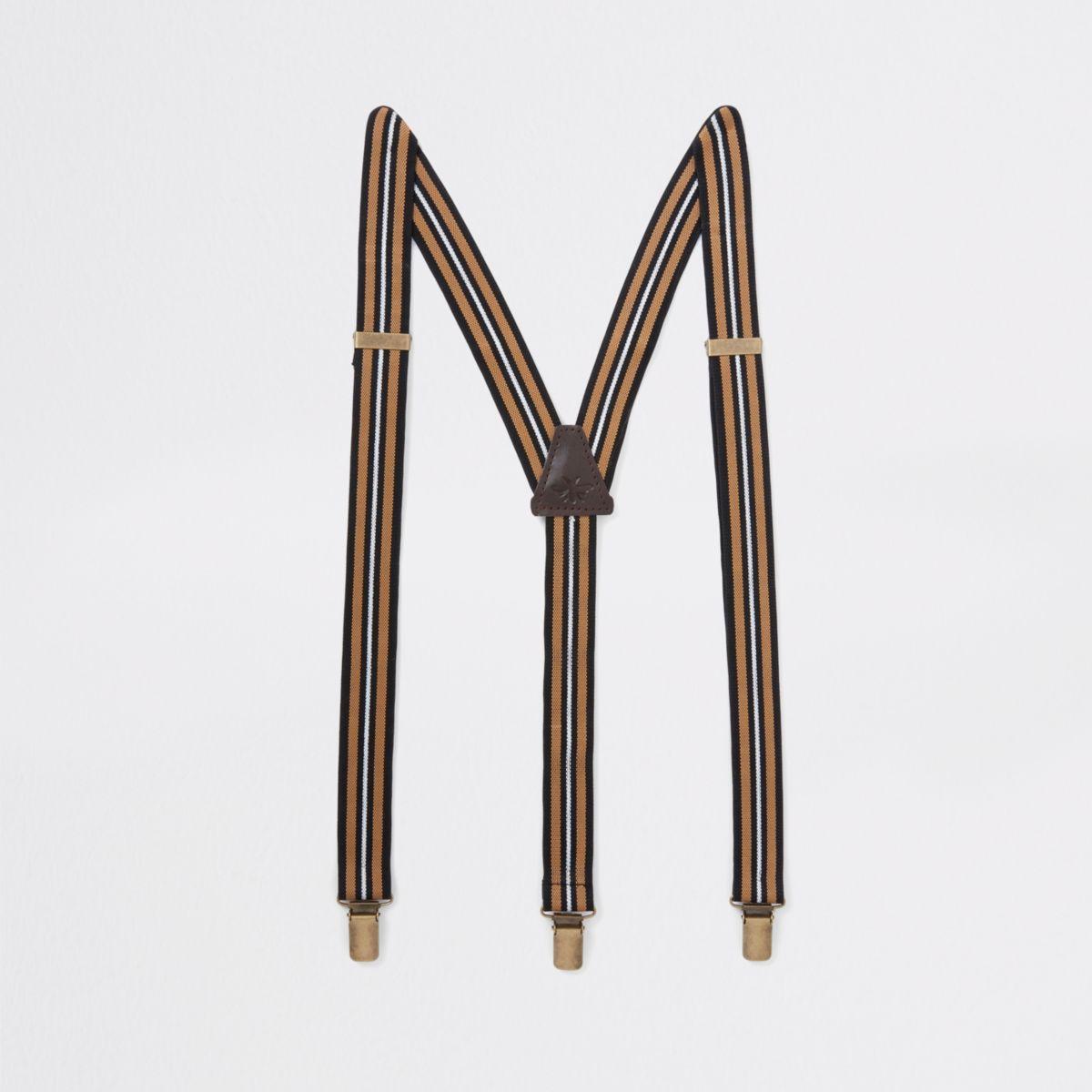 Brown stripe belt suspenders