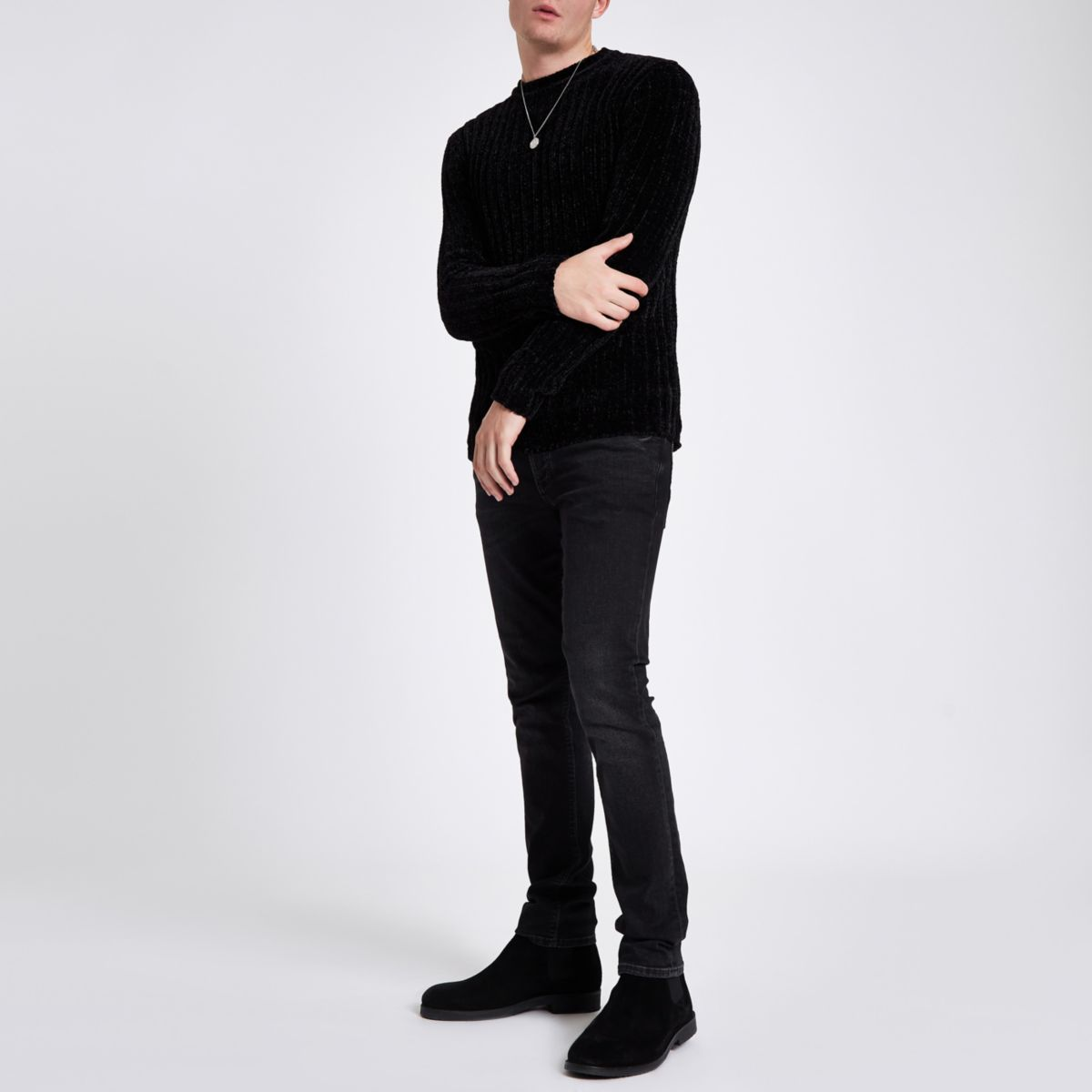 Black muscle fit chenille knit jumper