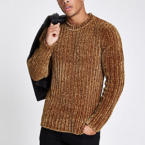 Brown muscle fit chenille knit sweater