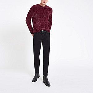 Donkerrode aansluitende chenille pullover