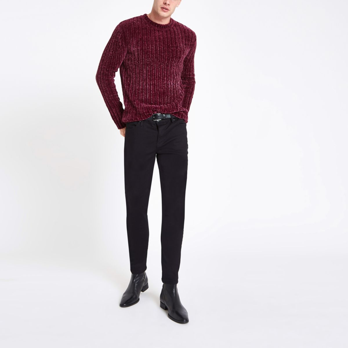 Dark red muscle chenille knit sweater