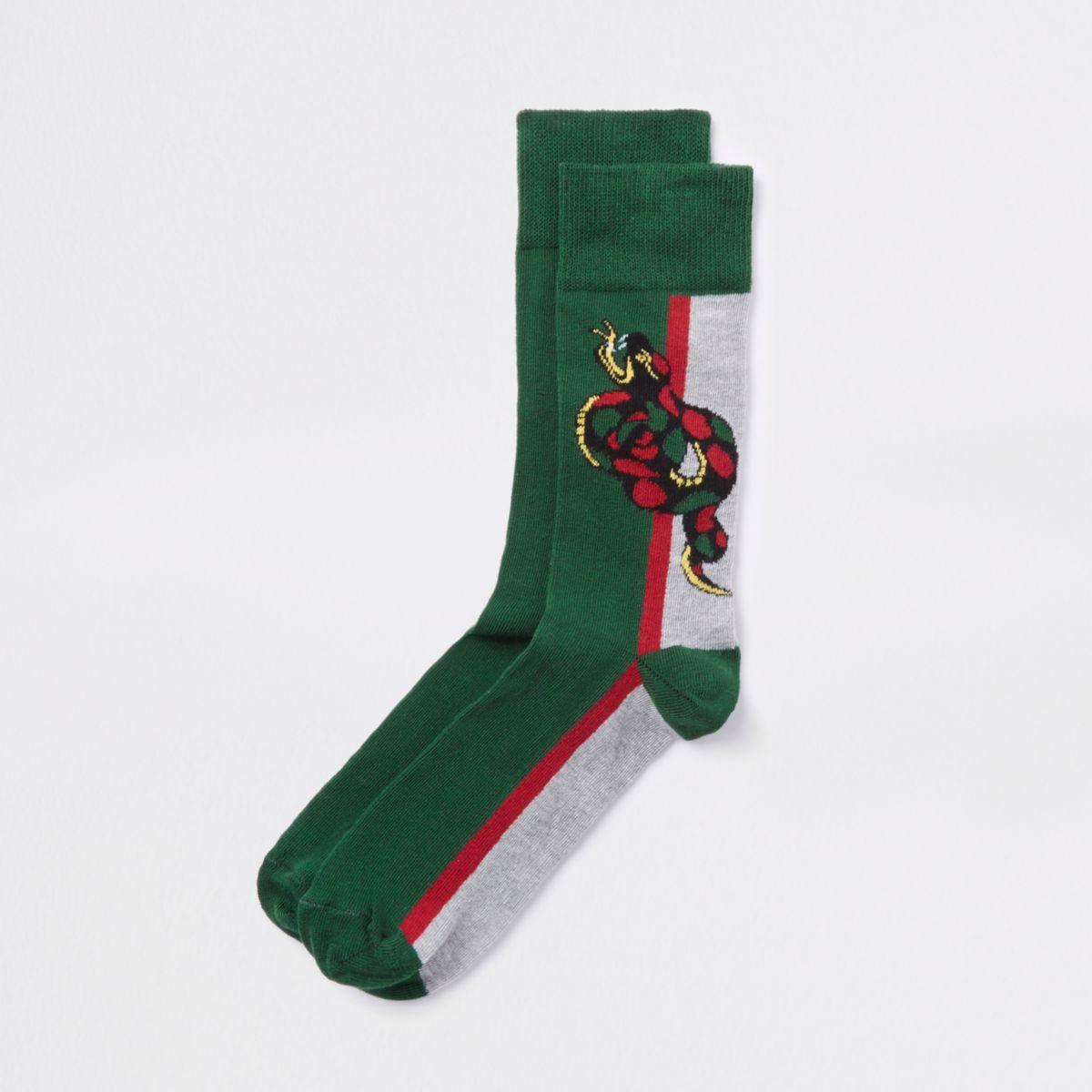Green snake novelty socks