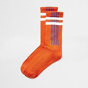 Chaussettes tube rayées orange