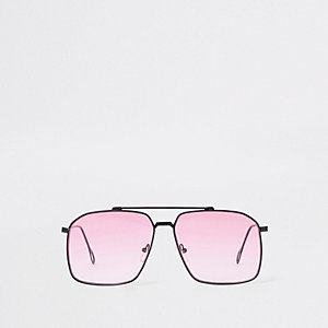 Pink square lens aviator sunglasses