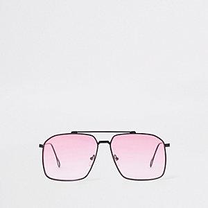 Pinke Pilotensonnenbrille mit eckigen Gläsern