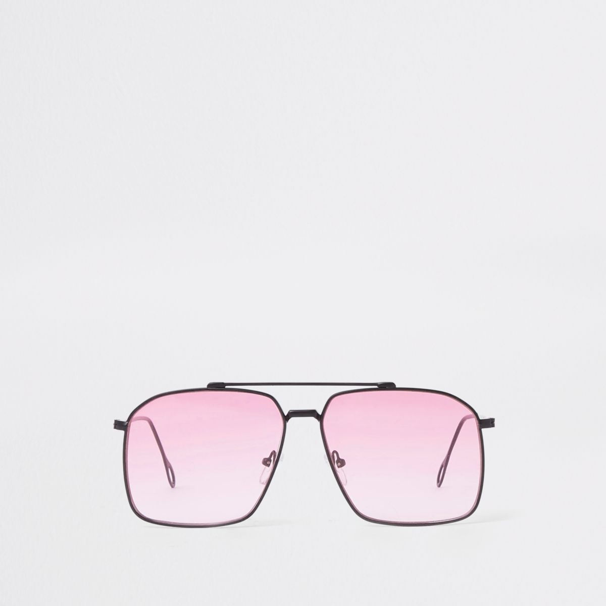 Pink square lens aviator sunglasses