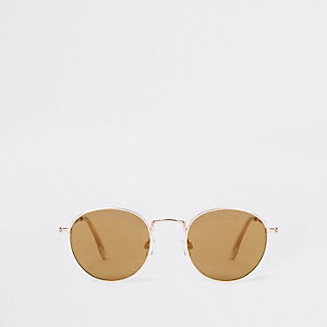 Rose gold tone round smoke lens sunglasses