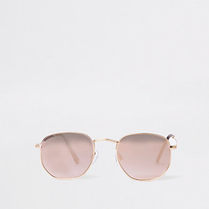 Gold tone rose gold hexagon sunglasses