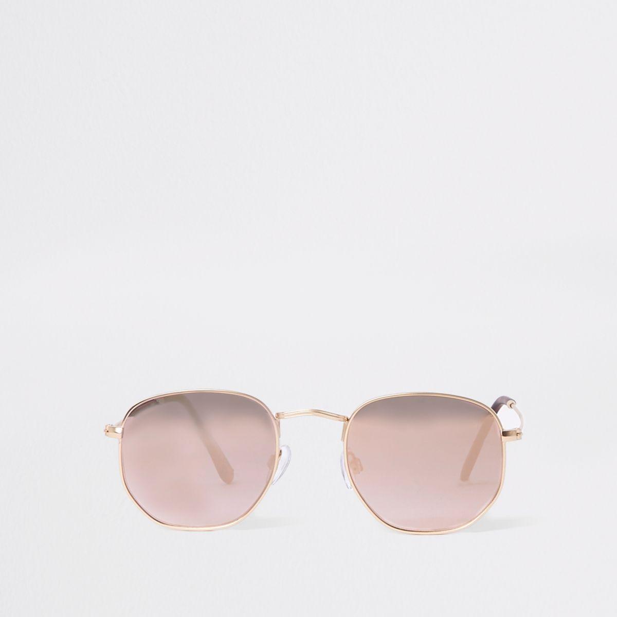 Gold tone rose gold hexagon sunglasses