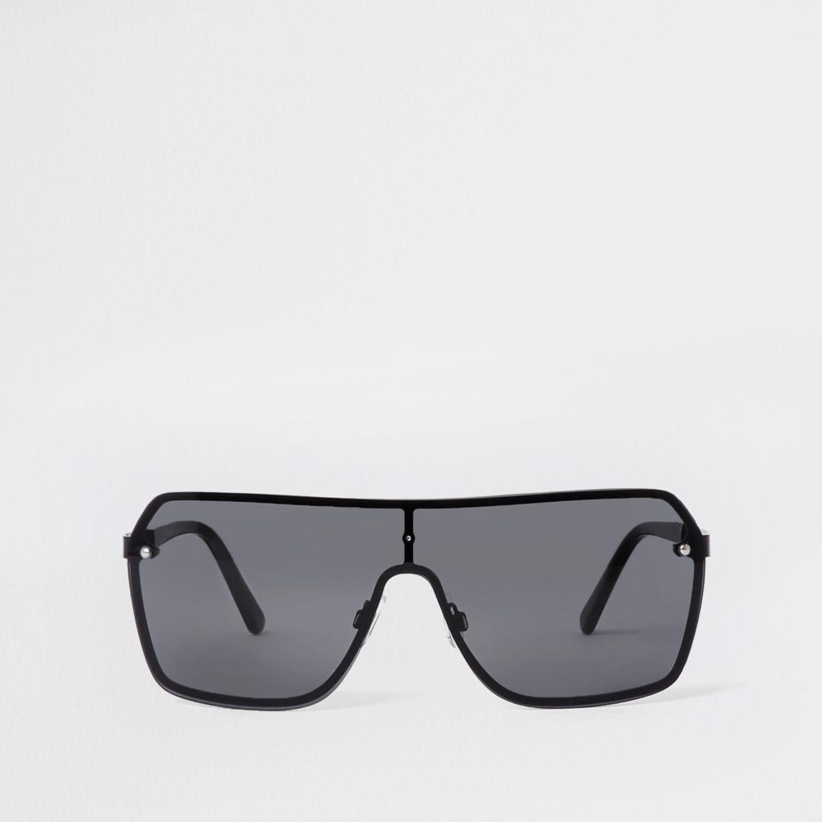 Zwarte pilotenzonnebril met spiegelglazen