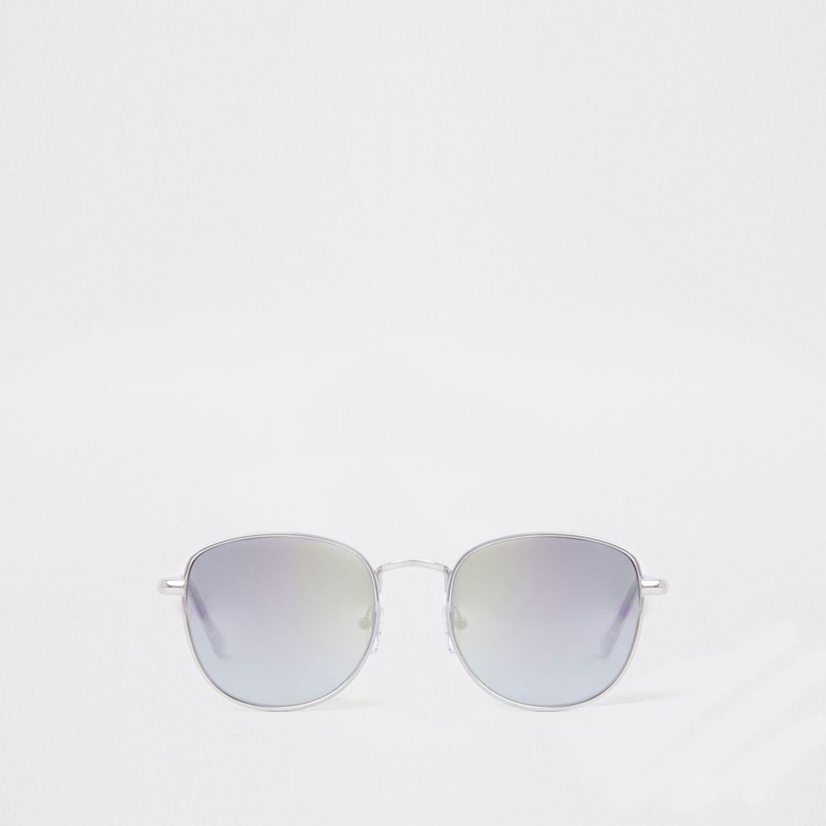 Silver tone revo lens round sunglasses