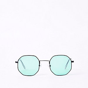 Green lens hexagon sunglasses