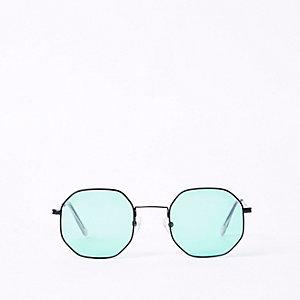 Grüne, sechseckige Sonnenbrille