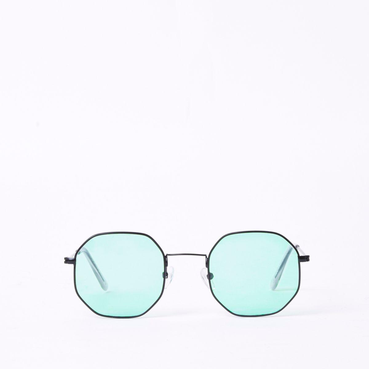 Green lens hexagon sunglasses