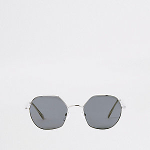 Silver tone hexagon smoke lens sunglasses