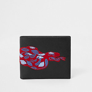 Black snake embroidered fold out wallet