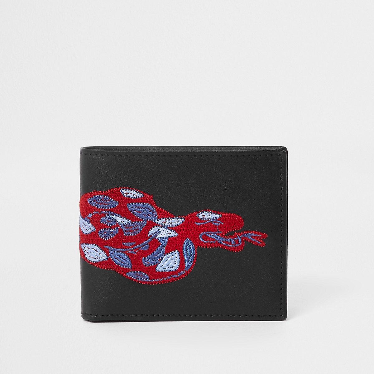 Schwarze Geldbörse mit Stickerei