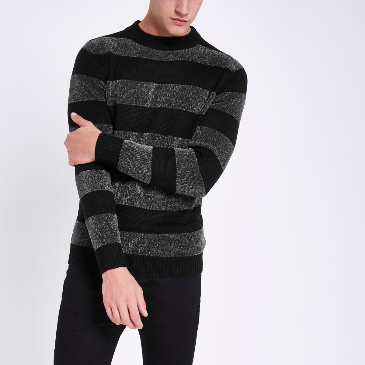 Black striped muscle fit chenille knit sweater