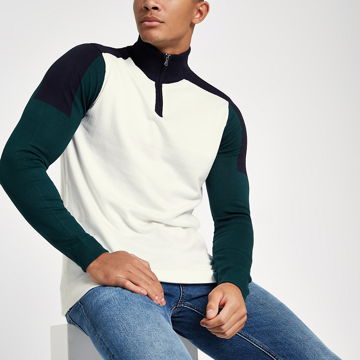 Ecru slim fit zip-up funnel neck sweatshirt