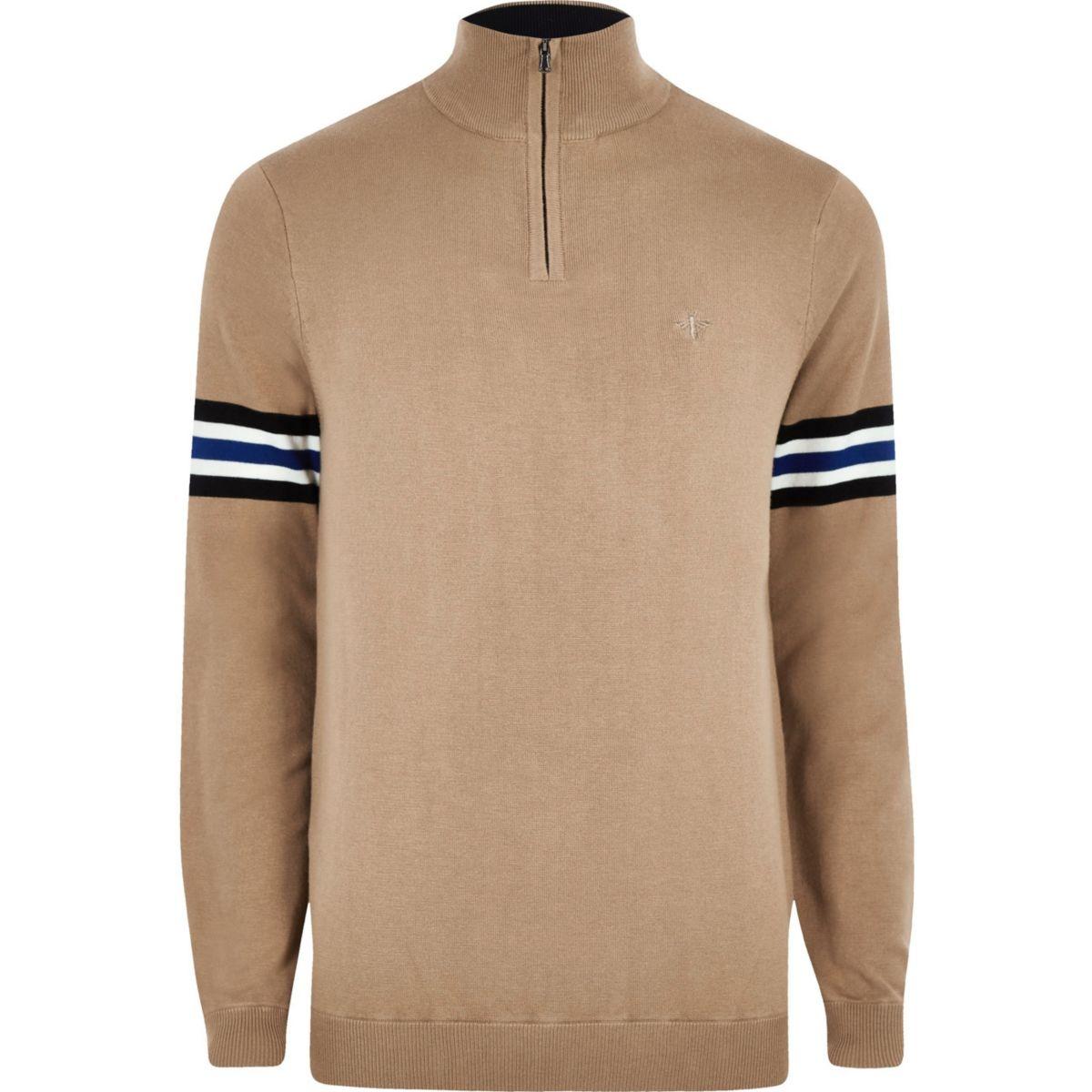 zip stripe funnel Brown jumper neck sleeve wZRx1In0F