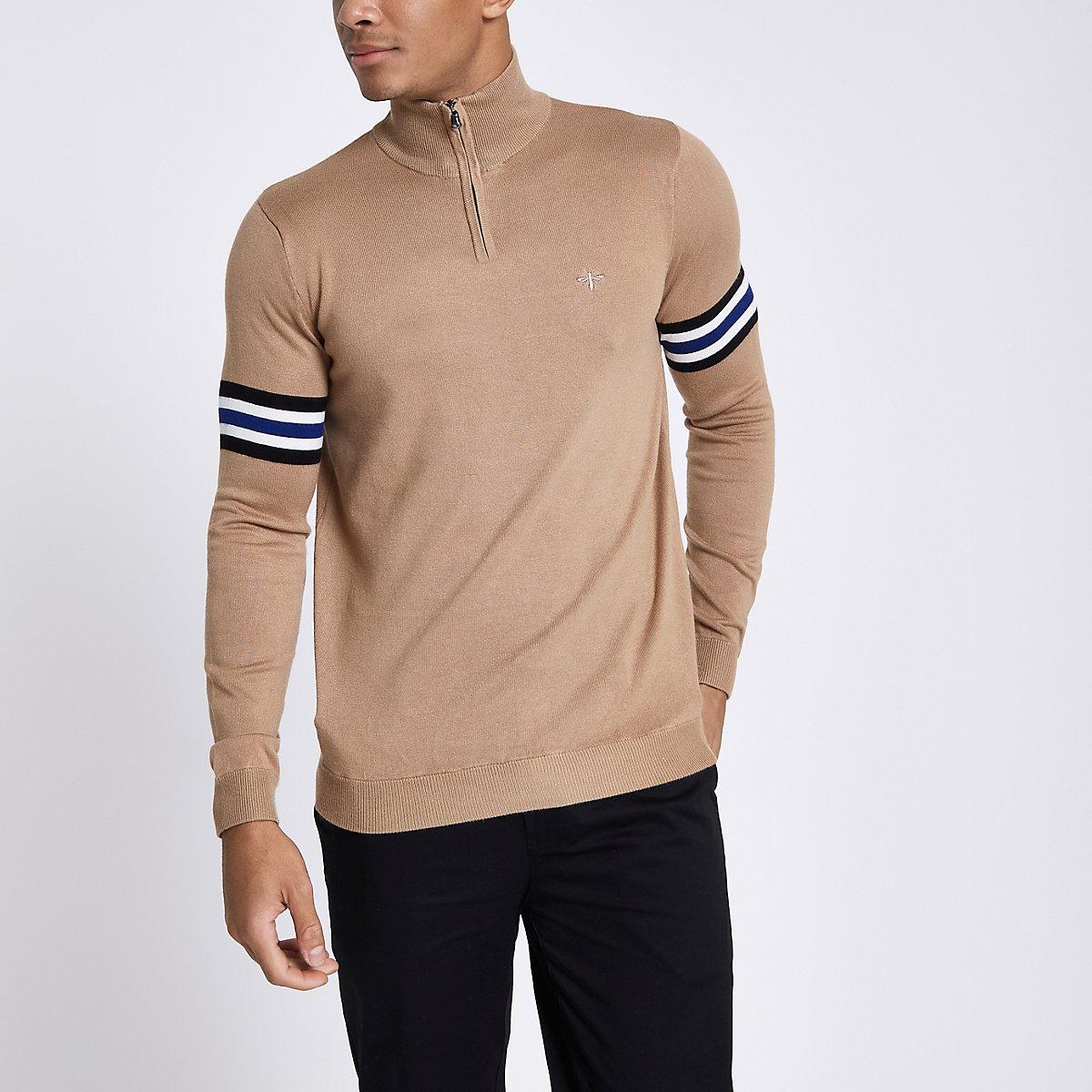 Brown stripe sleeve funnel neck zip sweater
