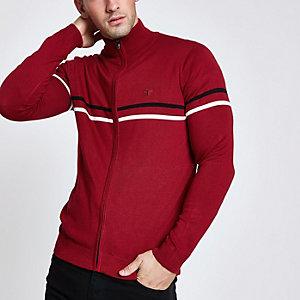 Slim Fit Pullover mit Reißverschluss und Stehkragen