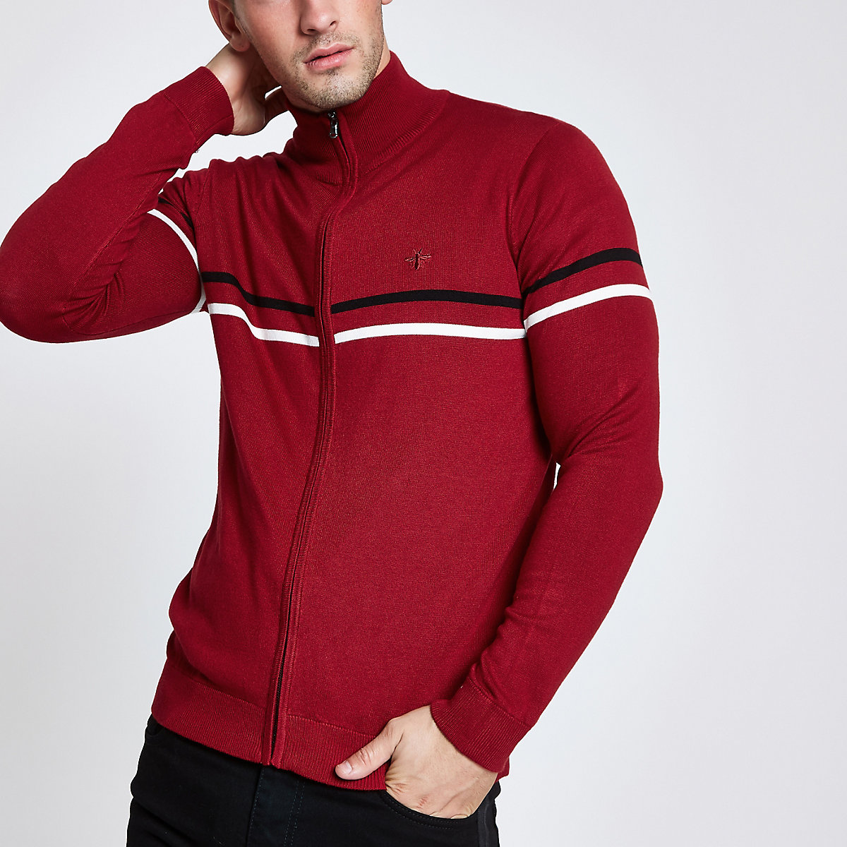 Red slim fit funnel neck zip up sweater